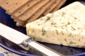 Blue cheese with crackers — Stock Photo