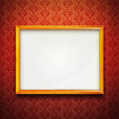 Frame on red vintage wallpaper — Stock Photo
