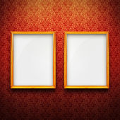 Frames with red vintage wallpaper — Stock Photo