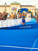 Stockholm - Lisa Norden at the finishline - ITU World Triathlon — Stock Photo