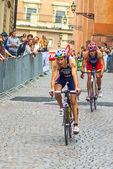 Stockholm - cyclistes sur les pavés dans la patronne de monde uit mens — Photo