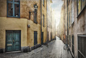 Empty street in Stockholm Old Town — Stock Photo