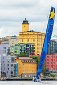 Sailboat Esimit Europa 2 departs from Stockholm — Stock Photo