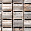 Apple crates stacked in storage — Stock Photo