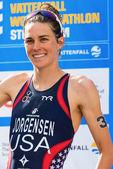 STOCKHOLM - AUG, 24: Gold medalist Gwen Jorgensen before the nat — Stock Photo