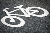Asphalt with bicycle sign — Stock Photo