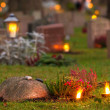 Graveyard at evening — Stock Photo