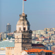 Stock Photo: Maidens Tower (Kizkulesi) with Beyoglu district in background.