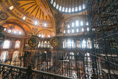Hagia Sophia museum, renovation of the interior with scaffolding on one side. — Stock Photo