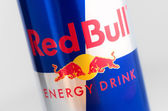 Red Bull logo on aluminium can — Stock Photo
