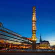 Night view of Sergels Torg with the glass obelisk — Stock Photo
