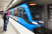 Stockholm Subway with an incomming blue train — Stock Photo