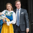 Постер, плакат: Princess Madeleine of Sweden with Princess Leonore and Chris One