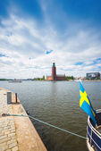 Stadshuset with a steamboat passing by and a swedish flag in the — Stock Photo