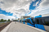 Metro train of Stockholm at the end station at Fruangen — Stock Photo