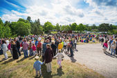 People gathered at a traditional swedish midsummer celebration — Stock Photo