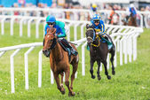 Two jockeys out of the fourth curve at the Nationaldags Galoppen — Stock Photo