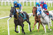 Three jockeys out of the fourth curve at the Nationaldags Galopp — Стоковое фото