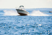 Small speedboat in archipelago — Stock Photo