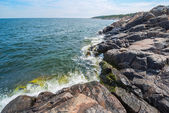 Nordic rocky coastline towards the baltic sea — Stock Photo