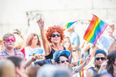 Happy colorful people participating in the Stockholm Pride Parad — Stock Photo