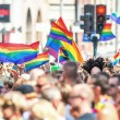 Happy people waving rainbow flags at the Stockholm Pride Parade — Stock Photo #50791385