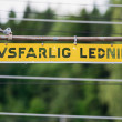Metal high voltage danger sign in swedish — Stock Photo #50960975