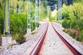 Railtrack in a curvy section with short depth of field — Stock Photo