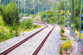 Winding railtrack in a curvy section — Stock Photo
