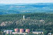 The tower at the northern hill overlooking Sundsvall with rollin — Stock Photo