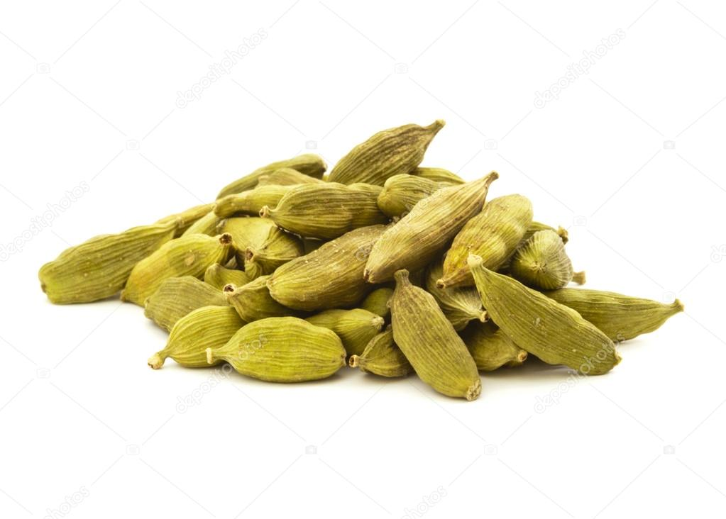 Green Cardamom Pile Isolated on White  Stock Photo #13270921