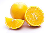 Orange Full And Sliced — Stock Photo