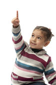 Girl Pointing Upwards — Stock Photo
