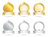 Approval Seal Gold & Silver Set — Stock Vector