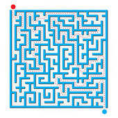 Blue 2D Maze Map — Stock Vector