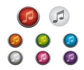 Glossy Web Buttons of Internet Music — Stock Vector