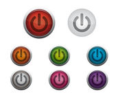 Glossy Web Buttons of Power On — Stock Vector