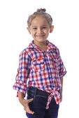 Girl in Checkered Shirt and Jeans — Stock Photo