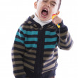 Funny Little Boy with Microphone — Stock Photo