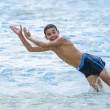 Active Happy Boy Jumping in Water — Stock Photo