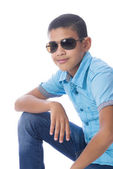 Boy with Sunglasses Posing for Photo — Stock Photo