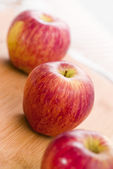 Red Apple Fruits on Wooden Table — Stock Photo