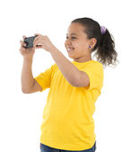 Girl With Phone Camera — Stock Photo