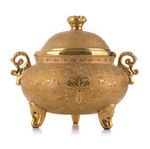 Golden Antique Porcelain Pot — Stock Photo
