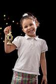 Happy Young Girl with Ramadan Lantern — ストック写真