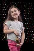 Sweet Happy Girl with Ramadan Lantern — ストック写真