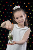Sweet Happy Girl Holding Ramadan Lantern — Foto de Stock