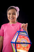 Happy Girl Holding Big Ramadan Lantern — Foto Stock