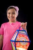 Happy Girl Holding Big Ramadan Lantern — ストック写真