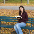 Stock Photo: Woman reading a book outdoors